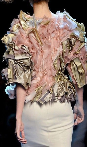 Fabric Manipulation for Fashion - glorious layered textures with mixed gold & nude fabric; creative sewing & surface creation