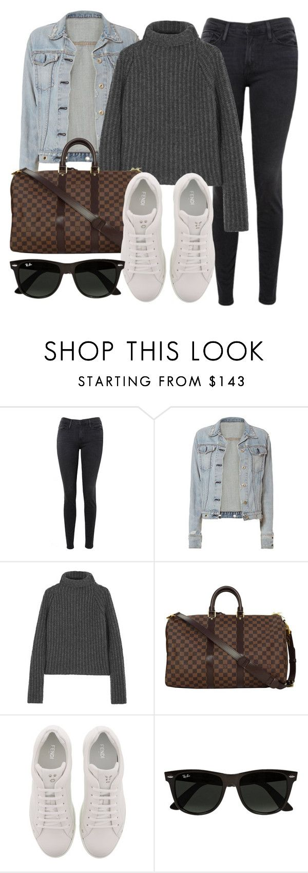 """Sin título #11838"" by vany-alvarado ❤ liked on Polyvore featuring Frame, rag & bone, Haider Ackermann, Louis Vuitton, Fendi and Ray-Ban"