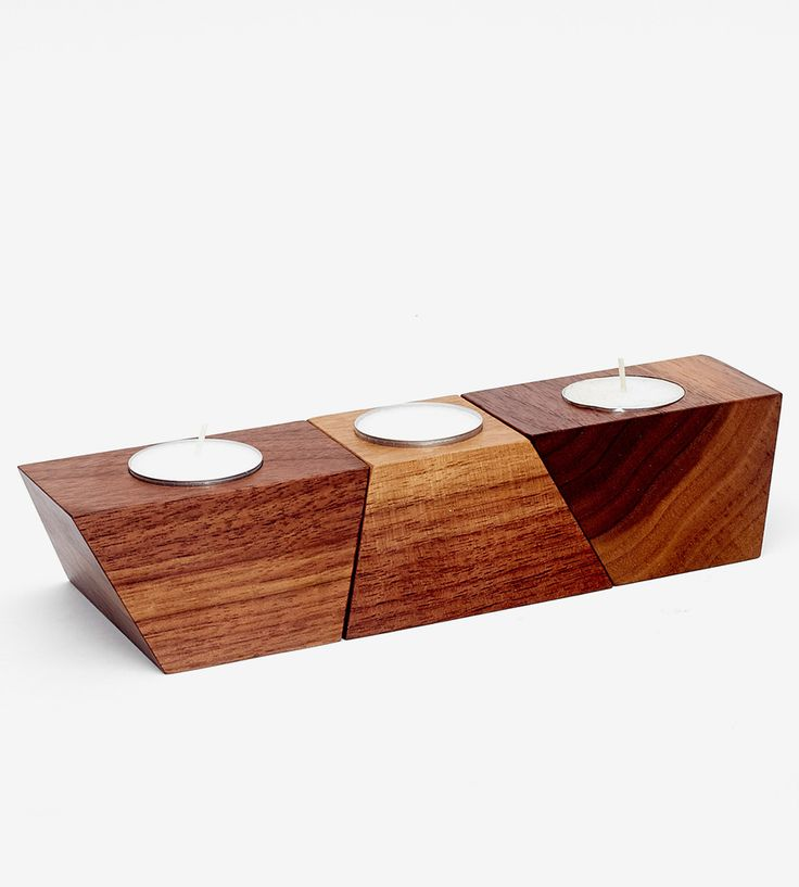 Geometric Wood Tea Light Holder | Handcrafted from solid maple or walnut wood, these tea light h... | Candle Holders