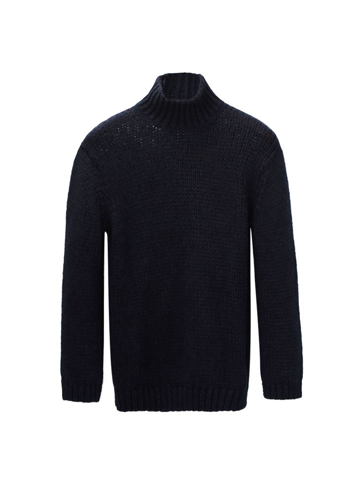 Solid-coloured sweater featuring a straight fit, semi-polo neck, long sleeves and ribbed trims.