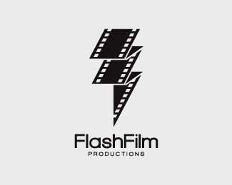 """This is a logo for """"FlashFilm"""" productions. It cleverly uses the words """"flash"""" and """"film"""" literally and incorporated them into the one logo of a flash made of film"""