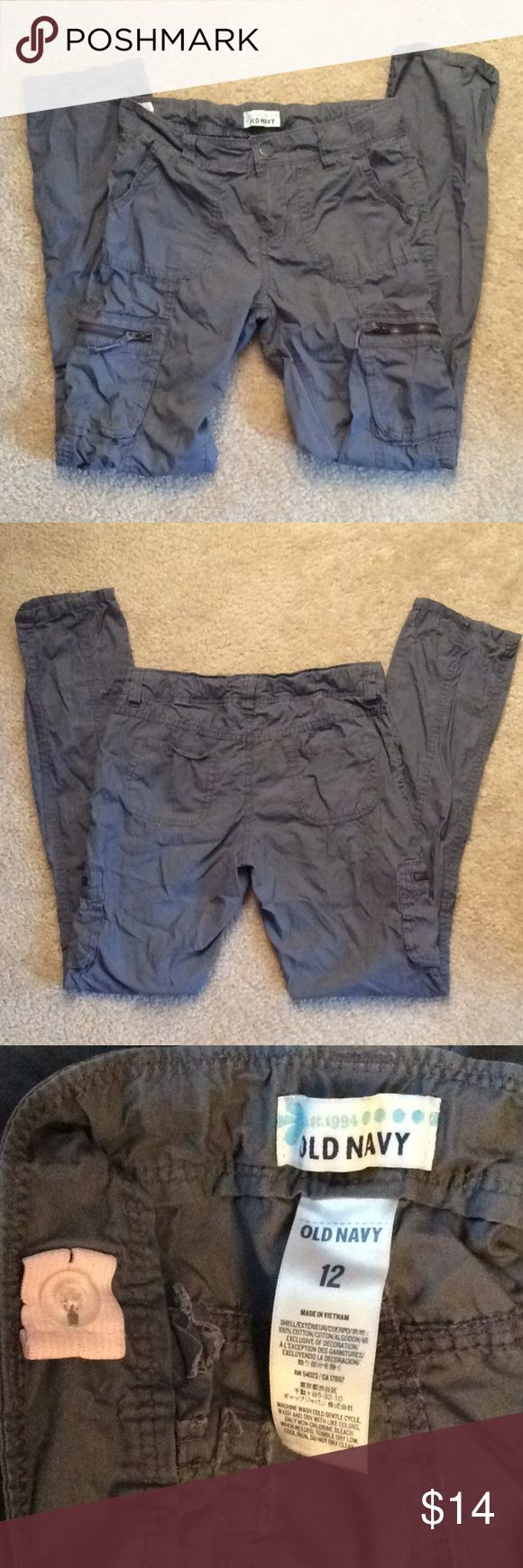 Old Navy gray Girls adjustable waist cargo pants Size 12 Old Navy Bottoms Casual