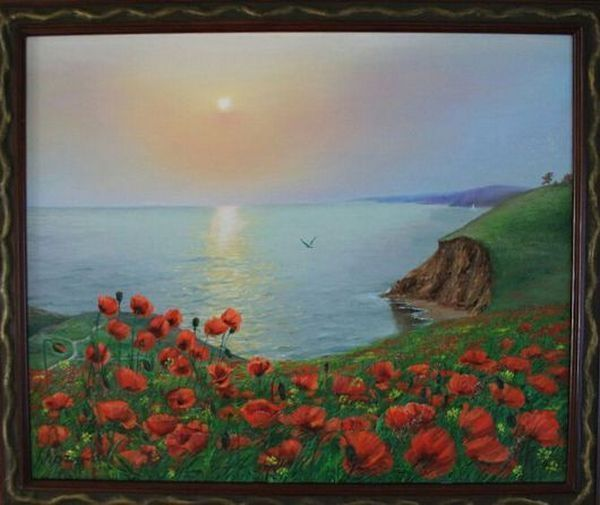 """Landscape Oil painting, oil on canvas, Handmade art, """"Poppies and the sea""""."""