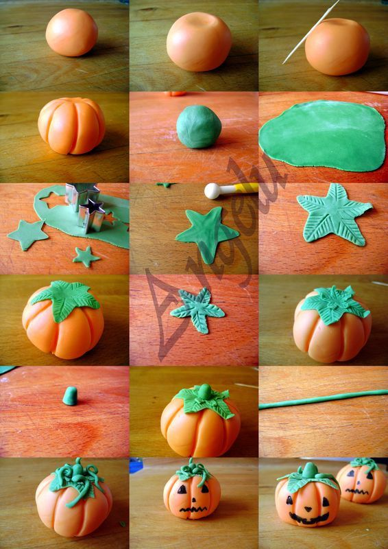 Citrouilles en pâte à sucre - sugarpaste pumpkins     - Cute tutorial found by Elaine Robitalle at Craft Gossip!