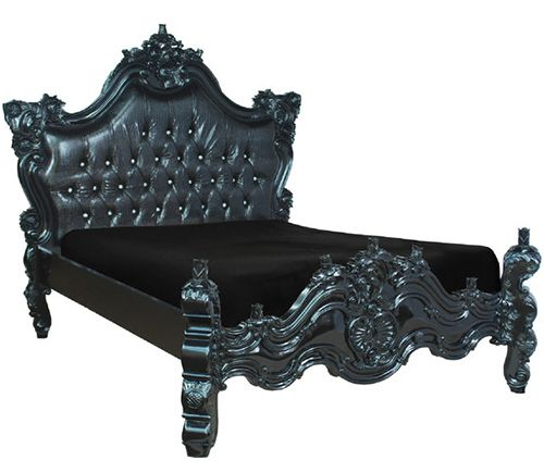 Black lacquer platform bed, featuring floral and scrolled carvings and a faux-croc upholstered headboard, tufted and treated with a touch of silver glitter.