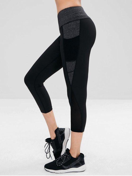 75ba832ce9 Mesh Panel Capri Gym Leggings | Zaful Trendy Fashion | Pinterest ...