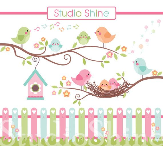 Digital Clipart The Best Nest Cute Birds Clip Art by StudioShine