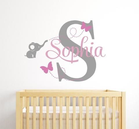 New Customized Name Elephant Butteryfly Wall Decal for Girls Kids Baby Room Mural Removable Vinyl Wall Sticker