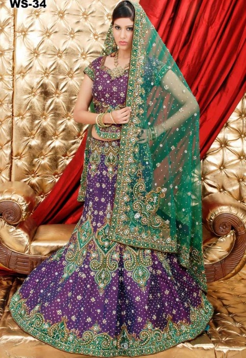 Purple And Green Silk Base And Net Duputta Wedding Fish Tail Lehnga