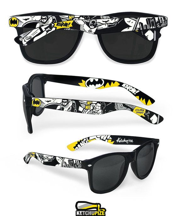 Batman Sunglasses - Wayfarer style sunglasses Batman comic unique hand painted - yellow - grey - black and white
