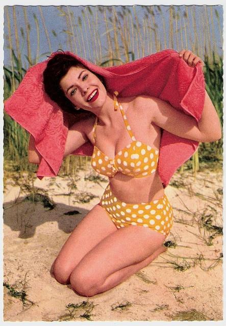 Polka Dots •~• vintage lady in yellow and white bikini, 1950s