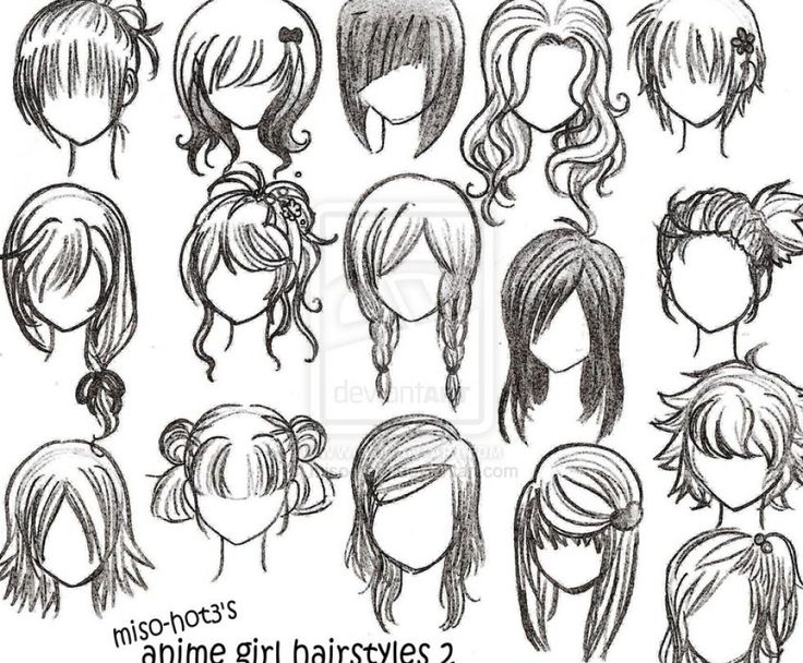 draw anime girl hairstyles