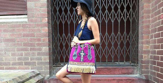Designer cotton velveteen Boho Hippie and Medieval sling bag.  Shoulder/Messenger bag.  Game of Thrones.  Cross body Ladies handbag purse