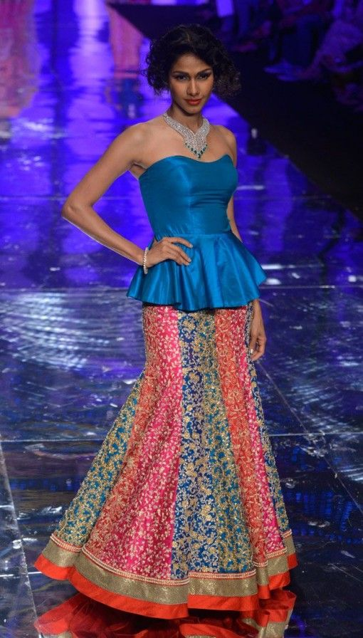 India Bridal Fashion Week: Jyotsna Tiwari multicolored paneled bright lehnga with blue peplum strapless blouse