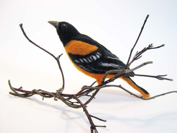 Baltimore Oriole  Needle Felted Bird  Made to by Flightofheart ☆