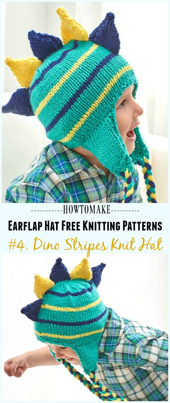 833ebd24e9e Dino Stripes Knit Hat Free Knitting Pattern - Knit Earflap Hat Free Patterns