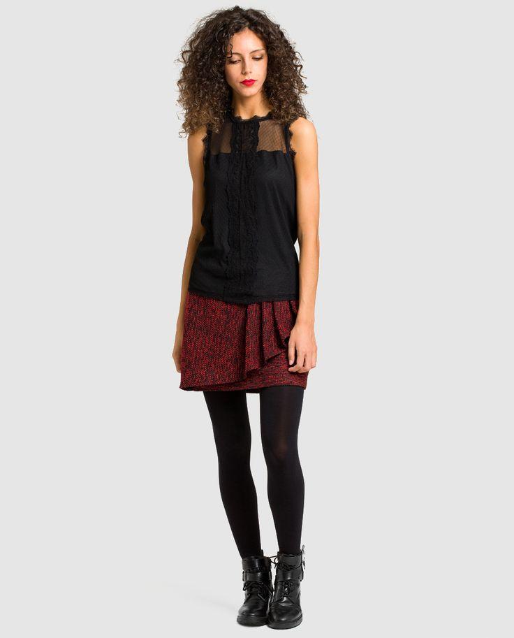 Camiseta de mujer Naf con plumetti y encaje · Naf Naf · Moda · El Corte Inglés