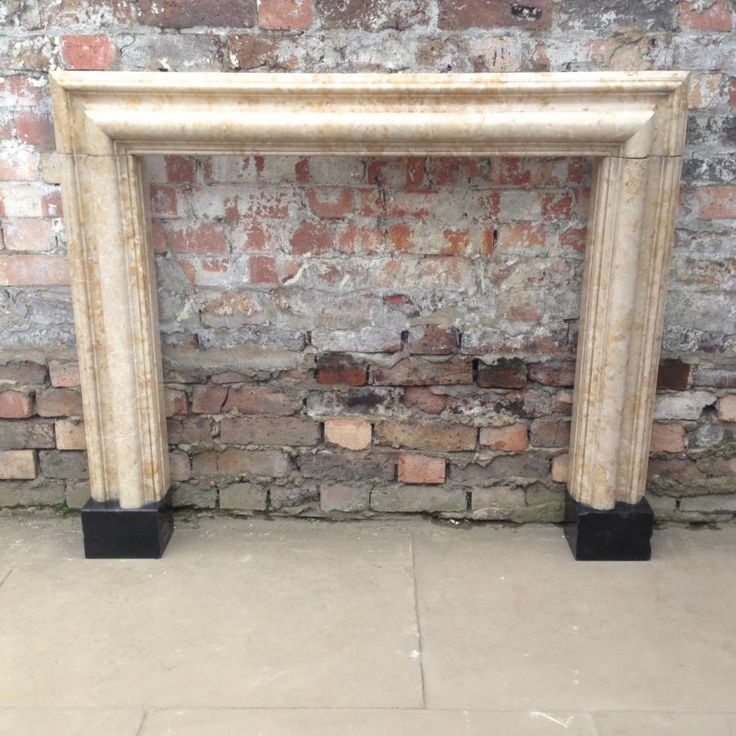 Antique Travertine Marble Bolection Fire Surround At