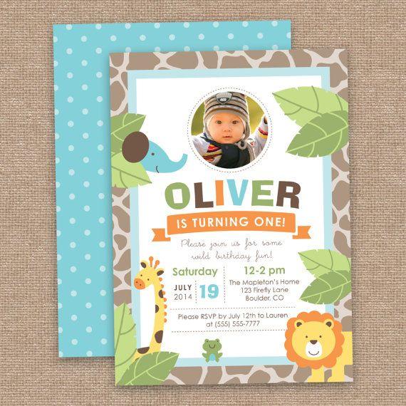 Primera invitación del cumpleaños niño selva, Safari animales, bricolaje imprimible