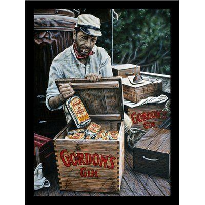 "Buy Art For Less 'Gordon's Gin' Print Poster by Darryl Vlasak Framed Vintage Advertisement Size: 24"" H x 18"" W x 1"" D"
