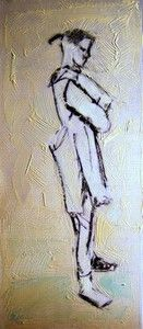 """""""Crossed Arm Pose"""", Mixed medium on 300g Photographic paper, W: 155mm x H: 360mm, W: 6"""" x H: 14"""""""