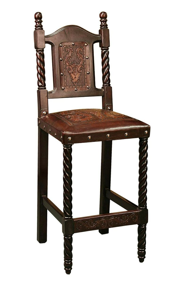 iron bar stools leather tooled seat