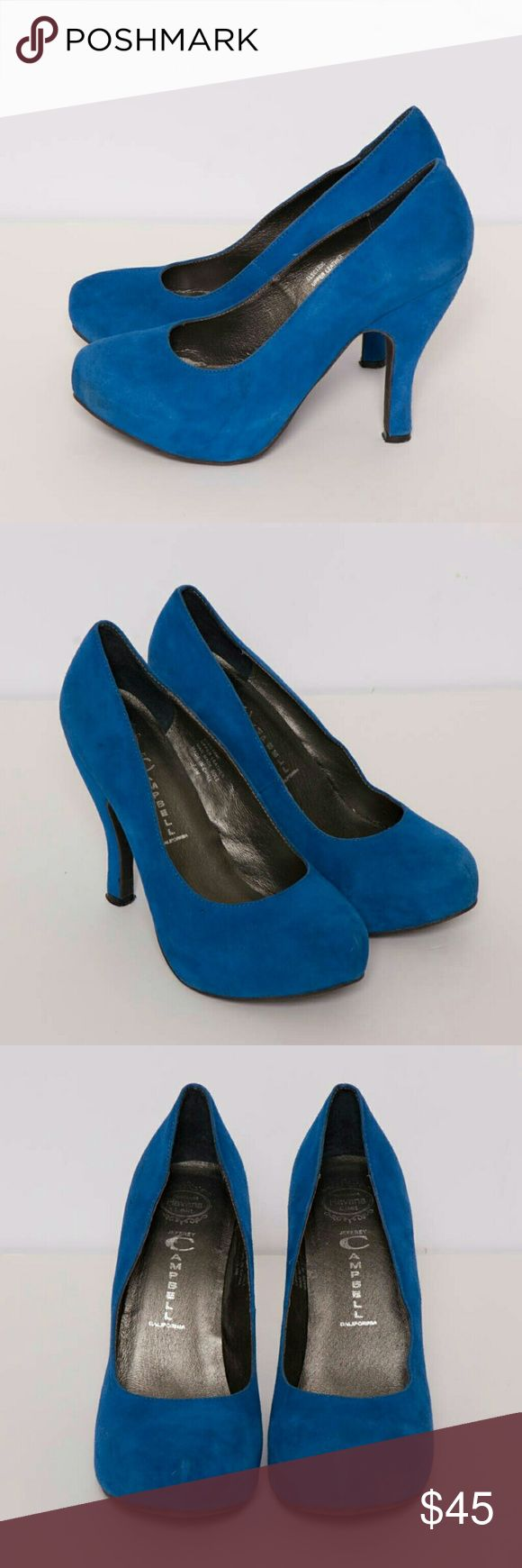 "Jeffrey Campbell Blue Suede Pumps Havana Last ""Electric"" blue suede pumps Almond toe 4.5? Heel Leather upper, manmade sole Made in China  Condition: Shoes are clean and show very little wear; no stains, scuffs, or marks on the leather. Soles show minimal wear. Jeffrey Campbell Shoes Heels"