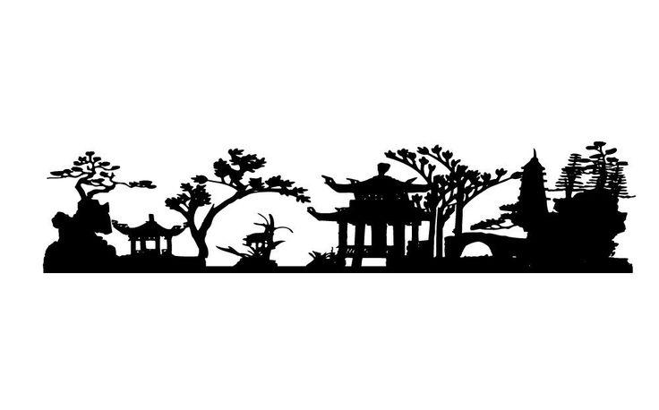 Wall Decal stickers adesivi murali della parete parete tatuaggio salone da letto per bambini in camera dei bambini ASIA skyline della cittš€ giardino di cinese del paesaggio 30 colori a scelta wst04(printed sticker 20x8cm): Amazon.it: Fai da te