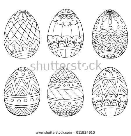 Set of anti stress coloring book pages for adult. Easter eggs. Zentangle and doodle design elements. Black and white vector illustration.