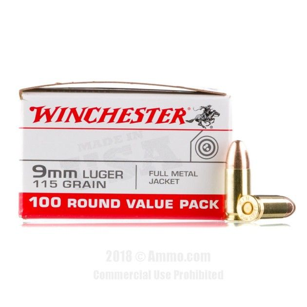 Winchester 9mm Ammo - 1000 Rounds of 115 Grain FMJ