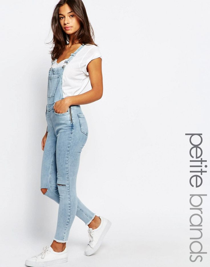 Image 1 of New Look Petite Bleach Denim Overall with Raw Hem