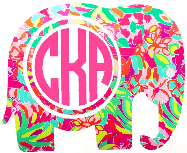 Lilly Pulitzer Elephant Monogram Decal