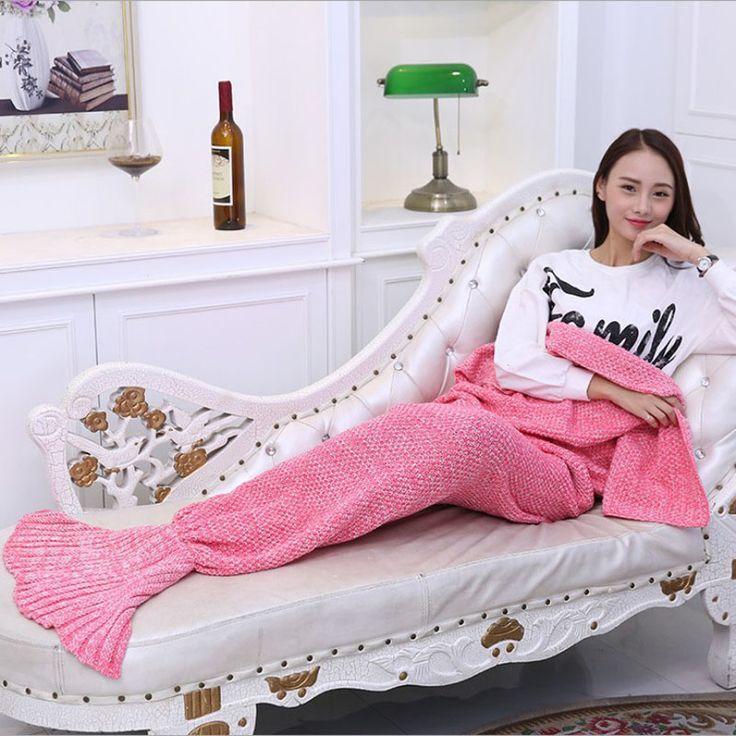 >> Click to Buy << Adult/Kids Yarn Knitted Mermaid Tail Blanket Handmade Crochet Mermaid Blanket Throw Bed Sofa Wrap Lovely Sleeping Bag 90x180cm #Affiliate