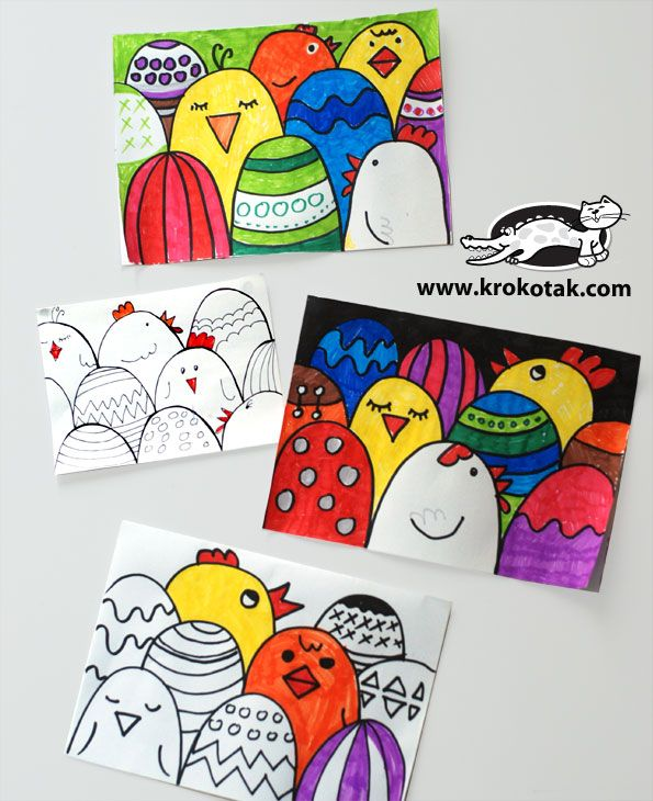 Easter card: Students begin with simple curved lines, then add either Easter egg designs or chicks, finally color (from www.krokokak.com)