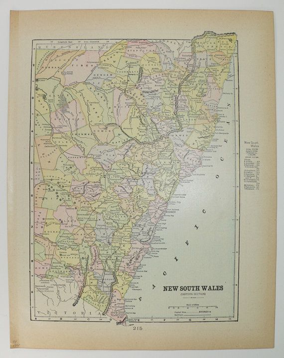 Antique Map New South Wales Victoria Queensland Vintage Old 1901 NSW Australia Map Travel Gifts Under 20 Gifts for Home Geography by OldMapsandPrints on Etsy
