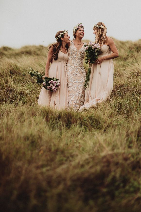 bohemian bride with her boho maids
