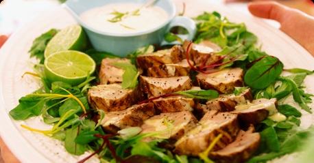 Grilled pork tenderloin with lime quark