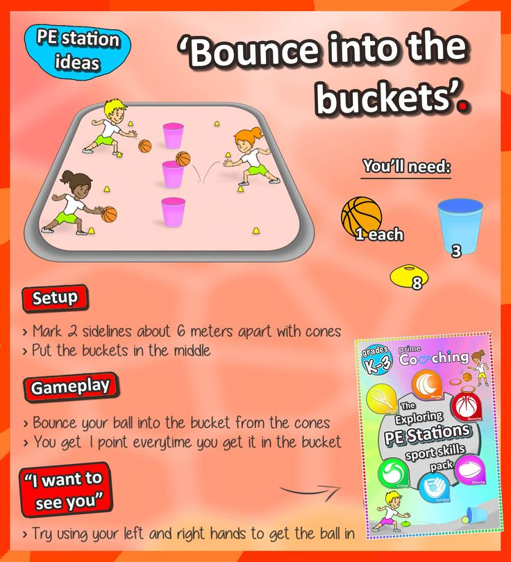 • Basketball bouncing skills • Get your kids practicing their ball-handling and accuracy with this simple PE station - check out more sport skills here