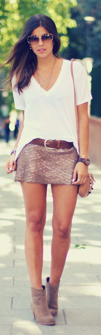 Atelier Concept Blush Sequin Mini Skirt by TrendyTaste