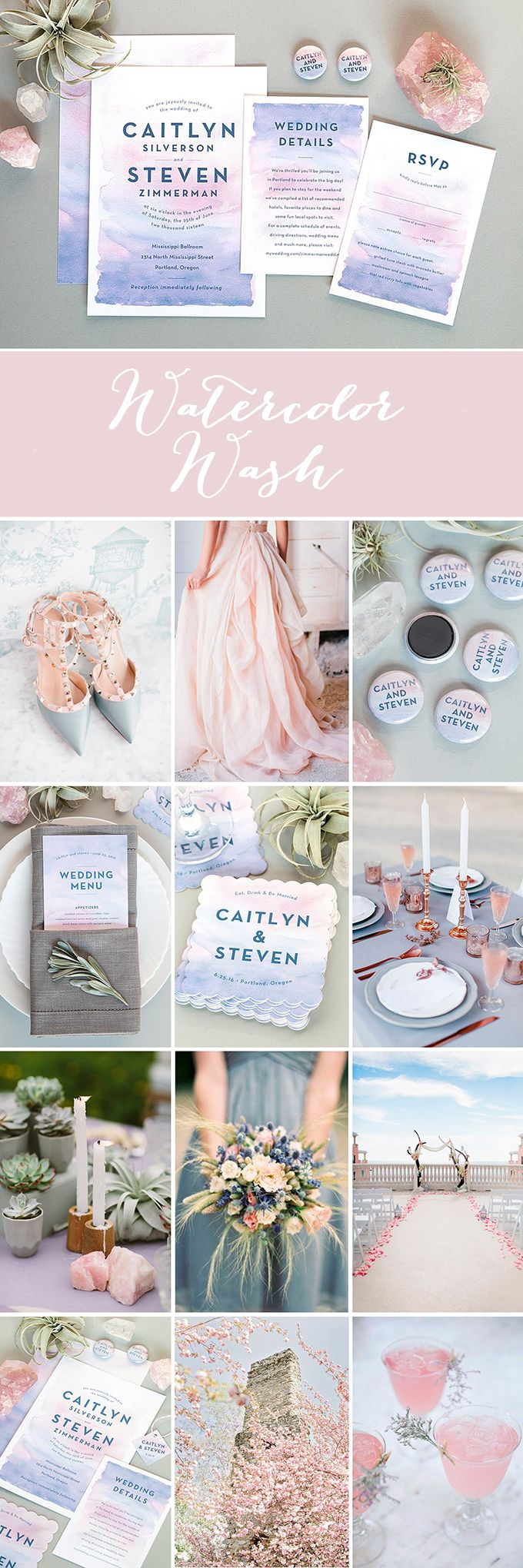 Wedding Inspiration: Watercolor Wash in Rose Quartz and Serenity