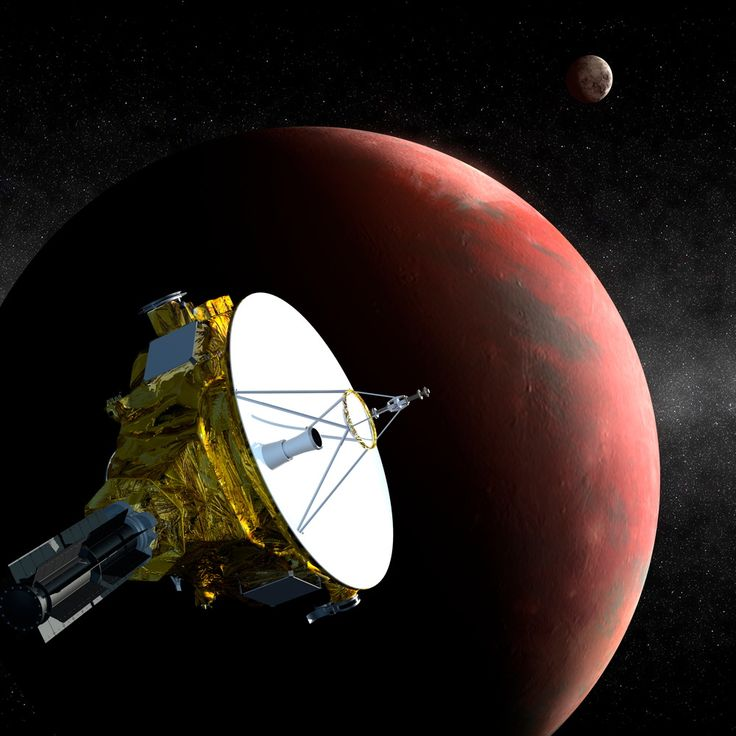 Artist's concept of NASA's New Horizons probe flying past the dwarf planet Pluto on July 14, 2015. New Horizons crossed the orbit of Neptune on Aug. 25, 2014, 25 years to the day after NASA's Voyager 2 spacecraft flew by the distant blue planet.
