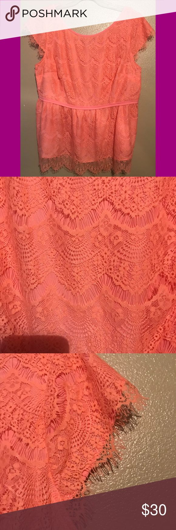 Peach Eyelash Lace Peplum Top with Cap Sleeves Peach Eyelash Lace Peplum Top with Cap Sleeves...never worn, brand new from EShakti 3X 26W eshakti Tops