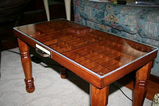 Idea for typesetter drawer, especially since we don't have a coffee table...