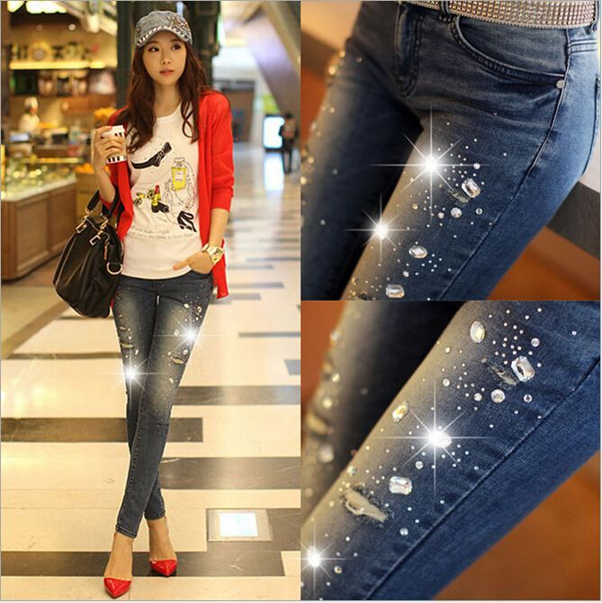 Cheap jean jacket jeans, Buy Quality jean elastic directly from China jeans wear for women Suppliers: New ripped women jeans long skinny denim pants diamonds rhinestones jeans with holes pencil pants stretch lady jeans fo
