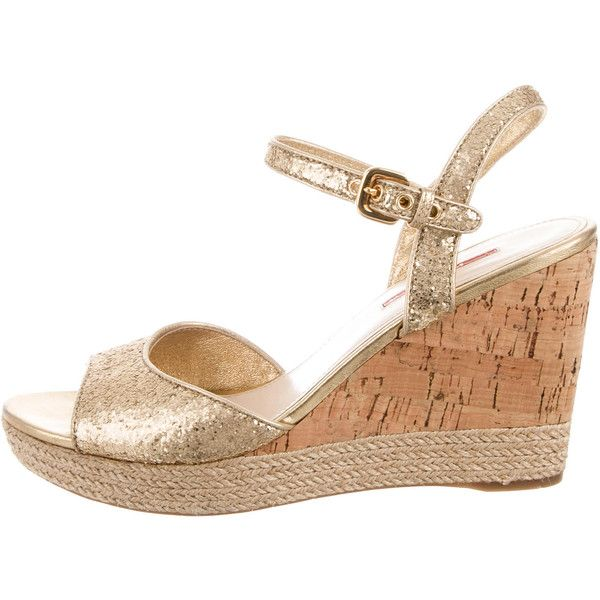 Pre-owned Prada Sport Glitter Wedge Sandals ($165) ❤ liked on Polyvore featuring shoes, sandals, gold, wedge heel sandals, ankle wrap sandals, platform wedge sandals, platform wedge shoes and platform shoes