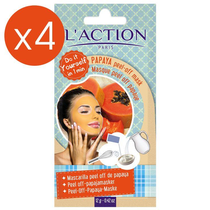 Masques peel-off à la papaye - 1 mois - 4 x 12 g  - L' Action Paris | beauteprivee.fr