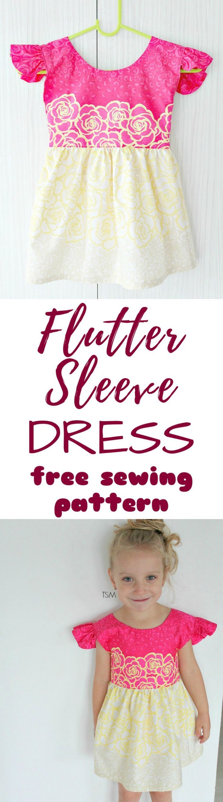 FLUTTER SLEEVE DRESS FREE SEWING PATTERN - Love sewing for little girls? Learn how to sew an adorable, sweet dress for a little girl using this easy to follow, step by step flutter sleeve dress tutorial.  #sewing #sewingproject #sewingpattern #sewingmachine #sewingblogger #sewingforbeginners #sewingforkids #freesewingpatterns