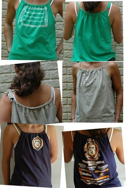 How to turn a regular t-shirt into a cute tank top. Looks so cute!