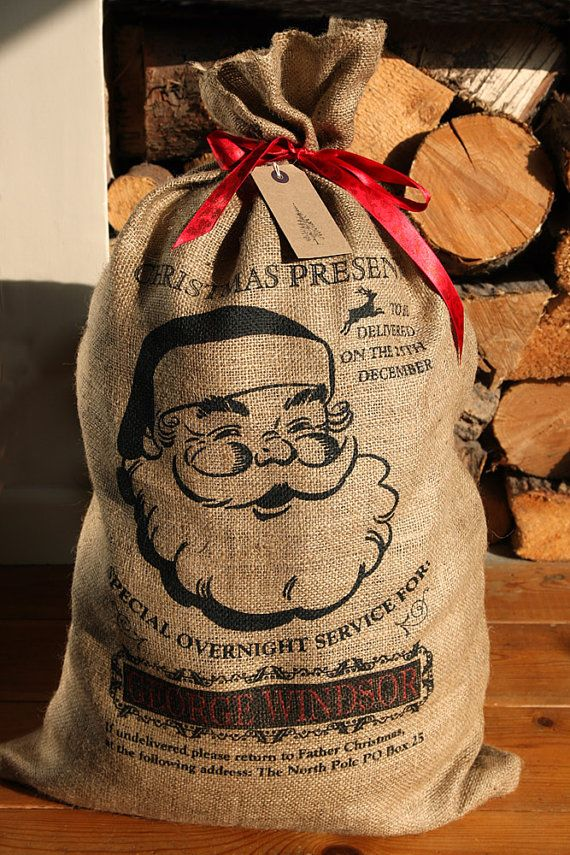 Personalized Christmas Santa sack, jolly Santa design xmas stocking with red ribbon on Etsy, $29.43