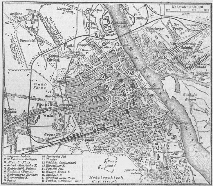 Map of Warsaw, Poland, 1888